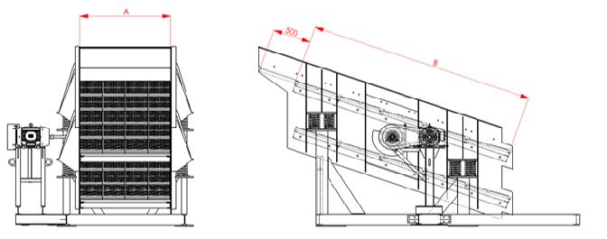 Desenho técnico da peneira vibratória